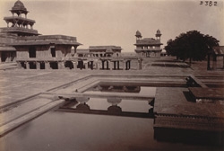 View looking north from the Khwabagh, showing the Panch Mahal and the Diwan-i-Khas, Fatehpur Sikri